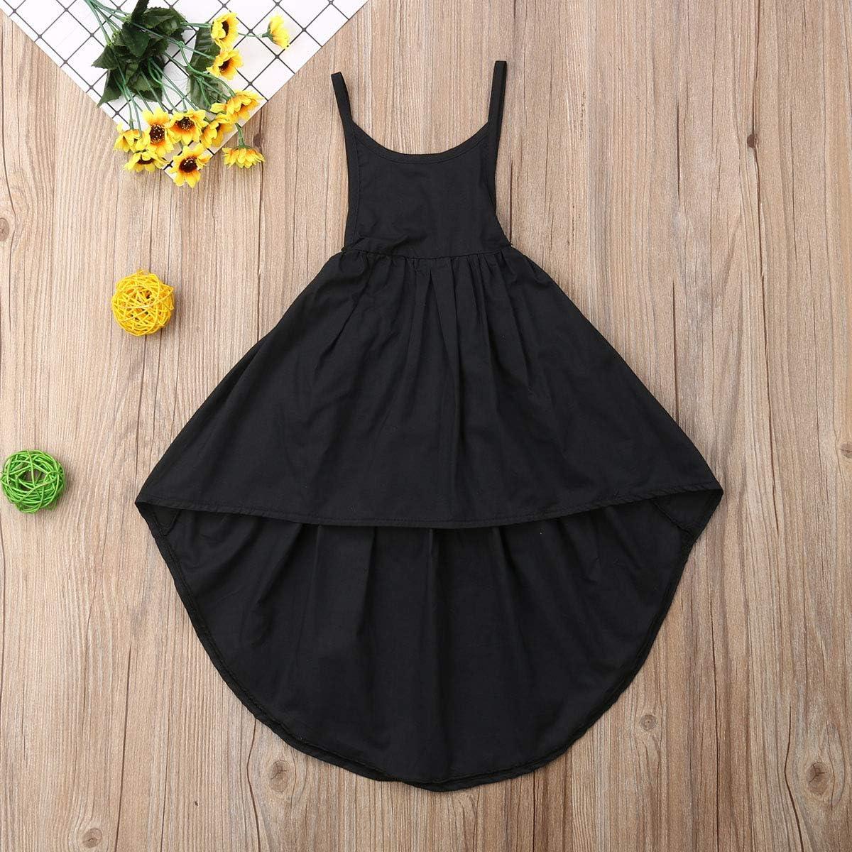 Qiylii Kids Baby Girl Sleeveless Backless Plain Ruffle Flutter Dress Sundress Clothes