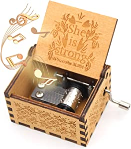 ukebobo Wooden Music Box – Christian Music Box, Proverbs 31:25,Faith Gifts for Friends, Women, Kids, Families– 1 Set