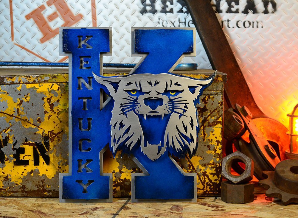 Gear New University of Kentucky Vintage 70s K 3D Metal College Man Cave Art, Large, Blue/Grey by Gear New (Image #3)
