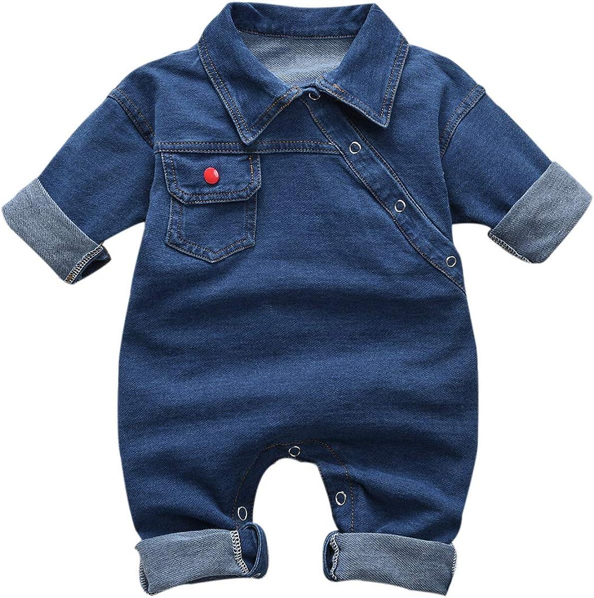 greatmtx Mameluco de Cuello Vuelto para bebés, Mono de Jeans para bebés recién Nacidos