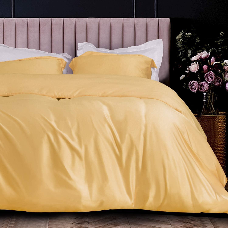 NTBAY 3-Piece Twin Satin Duvet Cover, Ultra Luxury and Soft with Hidden Zipper Design Kids Bedding Duvet Cover Set, Yellow