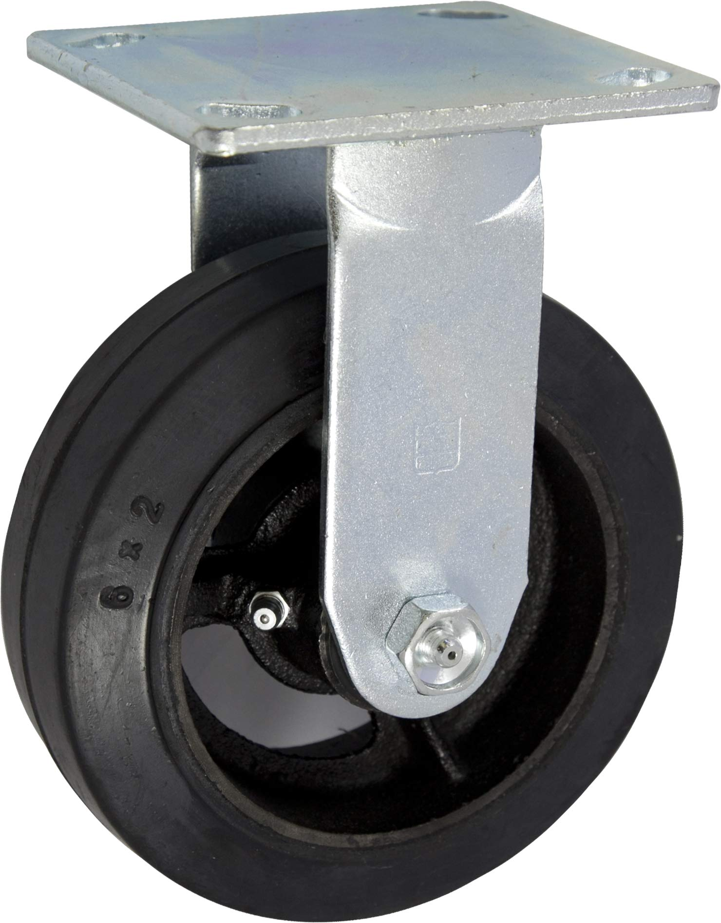 Caster Barn - 6'' x 2'' Rubber on Iron Wheel Medium Duty Industrial Caster - Dumpster & Trash Container Fixed Caster