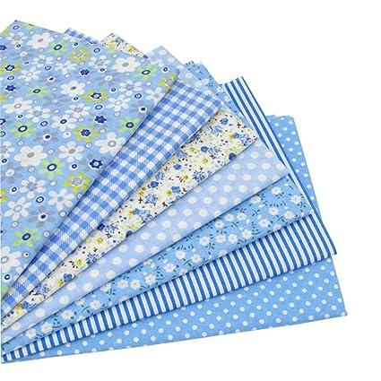 7 piezas 49cm * 49cm tela de algodón azul para patchwork,telas para hacer patchwork, telas tilda, retales de telas, tela algodon por metros