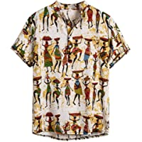 Slagon Comfortable Vintage T-Shirt Ethnic Printed Tee Henry Collar Short Sleeve Tops Loose Henley Shirt For Men Summer