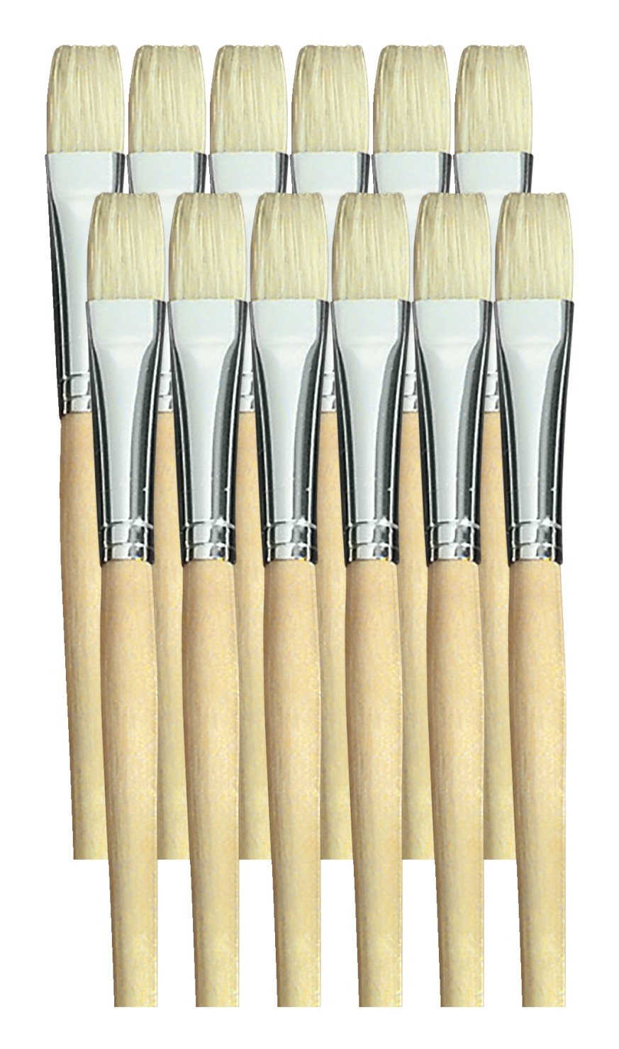 School Smart White Bristle Short Handle Paint Brush, 1/2 inch, Pack of 12