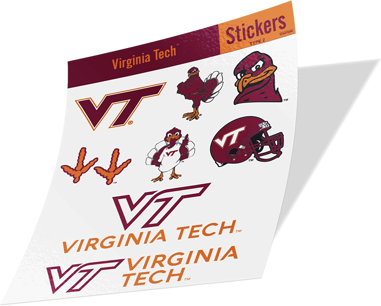 Virginia Tech University NCAA Sticker Vinyl Decal Laptop Water Bottle Car Scrapbook (Type 2 Sheet)