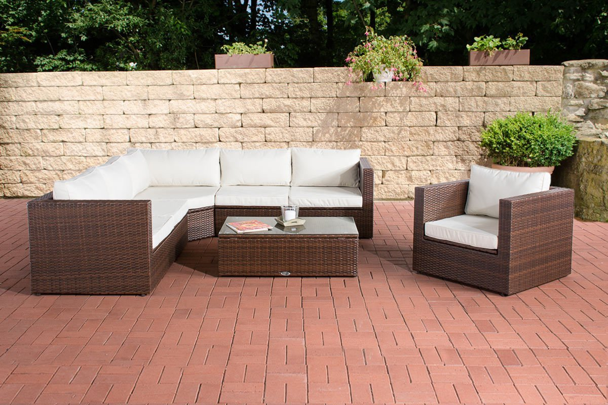 CLP Poly-Rattan Lounge Set TIBERA, mit XXL Stauraum (2 x 2er Sofa + Sessel + Ecksofa + Tisch 110 x 60 cm + 9 cm dicke Polster) FARBWAHL braun-meliert