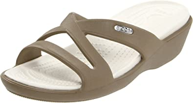 Crocs Women's Patricia II Khaki and Oyster Rubber Slippers - W10