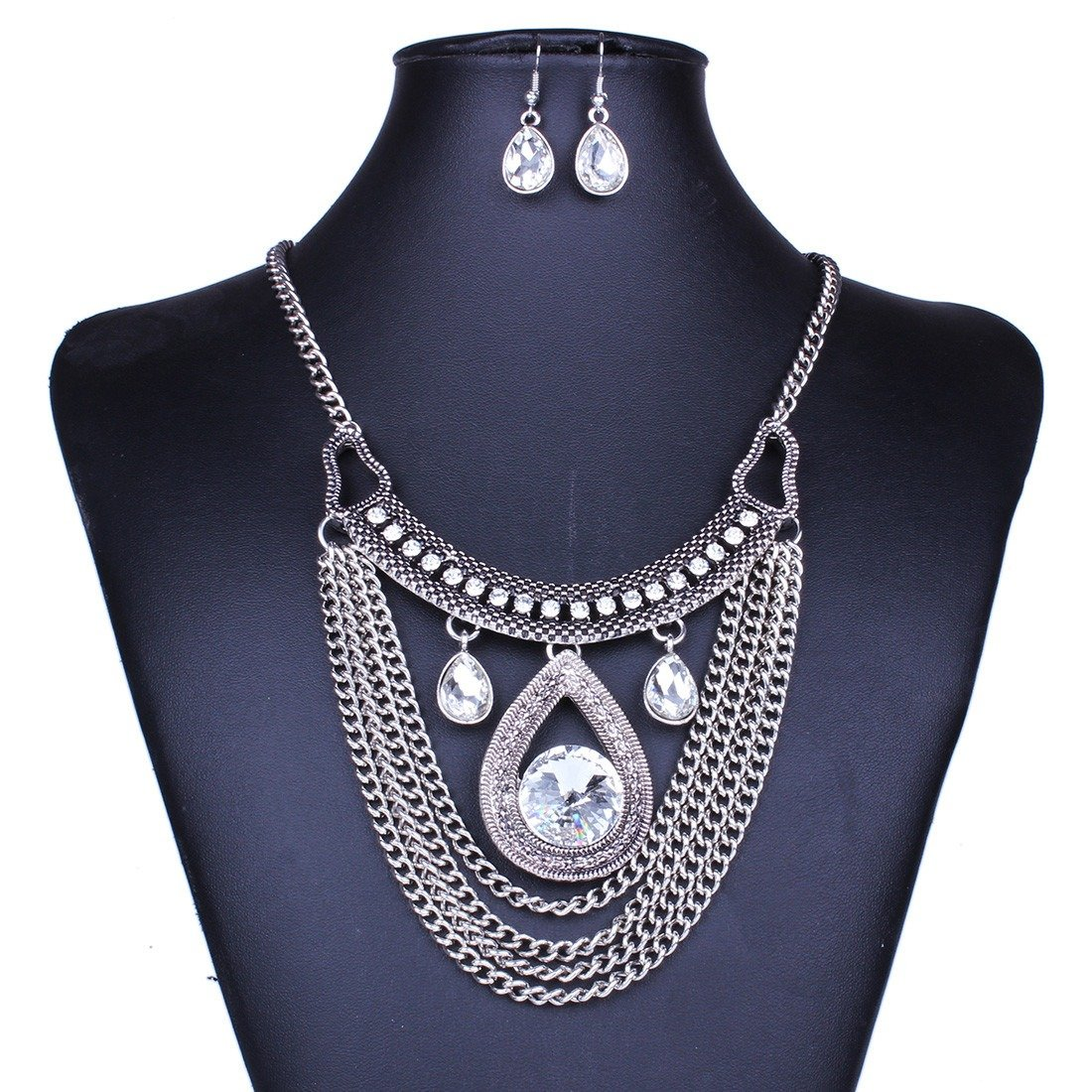 Qiyun Tribal Tibet Silver Long Tassel Faceted Rhinestone Drop Necklace Earring Long Gland Argent Goutte Facettes Collier W005N2251