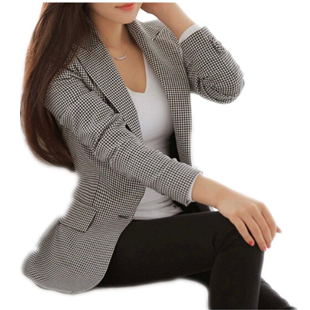 Enlishop Women's Elegant Long Sleeve Slim Fit Black White Plaid Blazer Jacket