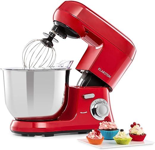 Klarstein Bella Robusta Metal - Robot de cocina, 1200 W de potencia rojo: Amazon.es: Hogar