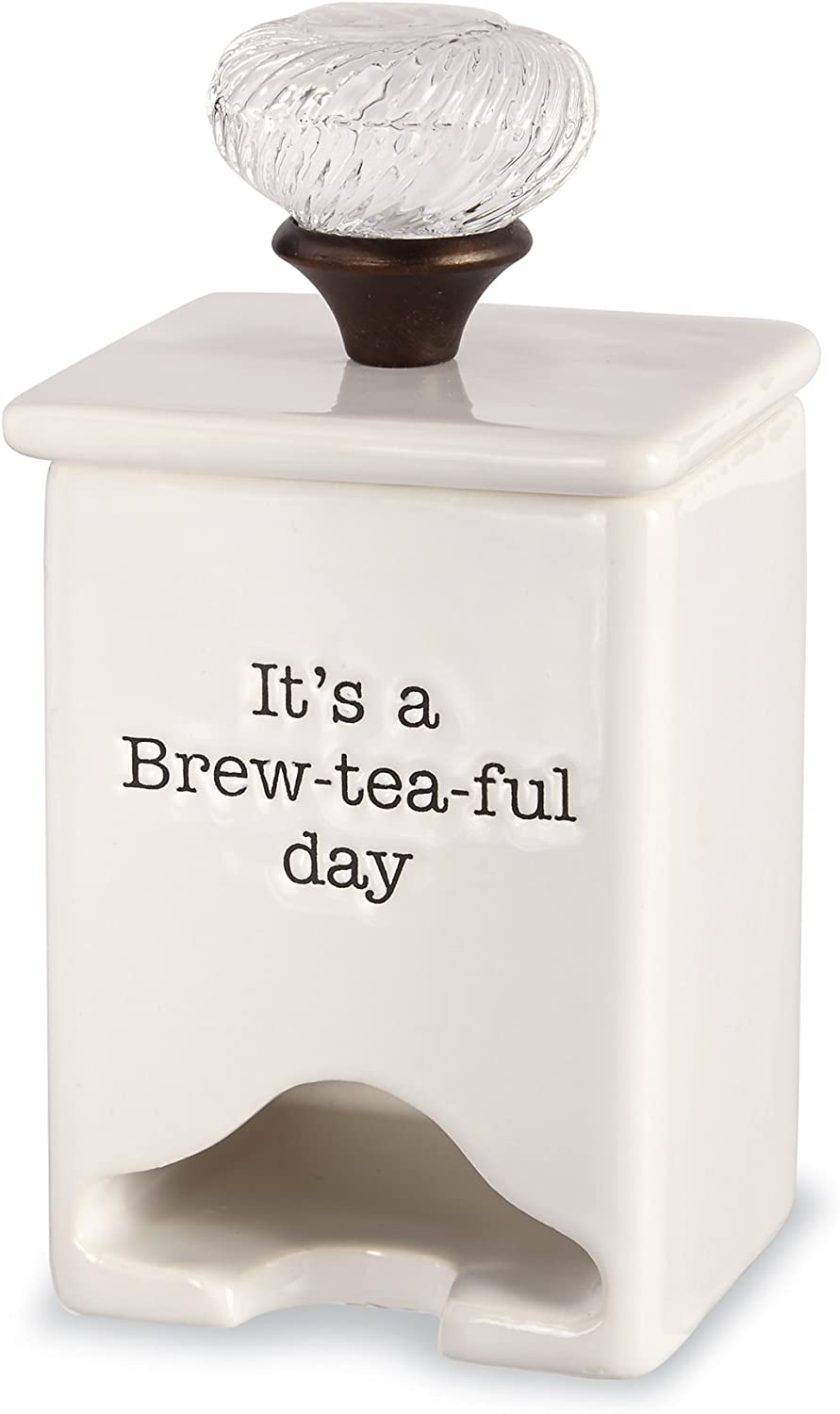 Mud Pie FBA_4771009 Ceramic Tea Bag Caddy, White