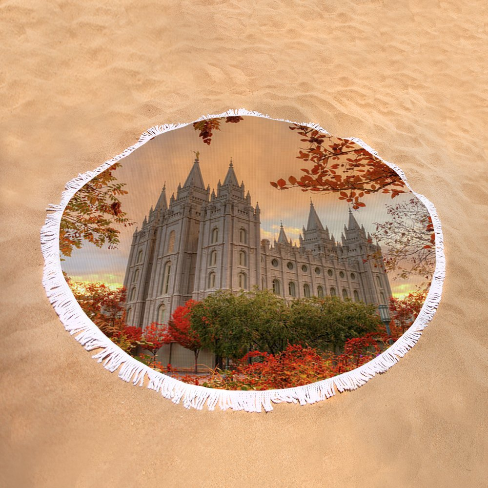 Pixels Round Beach Towel With Tassels featuring ''Autumn At Temple Square'' by Dustin LeFevre by Pixels