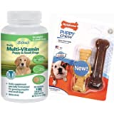 Best Multi-Vitamins For Small Dogs And Puppies- Excel Chewable Tablets Provide The Correct Balance of Vitamins and Minerals Essential For A Growing Puppy- 100% Natural - Includes Nylabone Puppy Chew