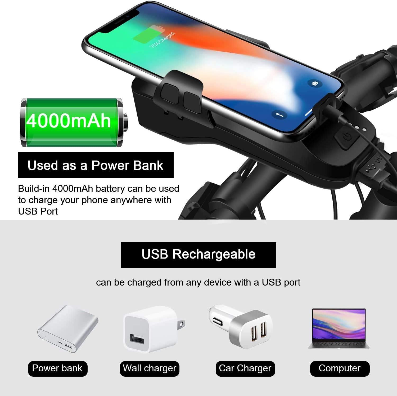 faro para manillar con bater/ía de 4000 mAh 130 dB luz LED superbrillante USB recargable para bicicleta de 550 l/úmenes CYCEARTH 5 en 1 Soporte para tel/éfono de bicicleta con carga solar