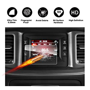 2011-2018 Dodge Charger Uconnect Touch Screen Car Display Navigation Screen Protector, RUIYA HD Clear TEMPERED GLASS Car In-Dash Screen Protective Film (5-Inch)