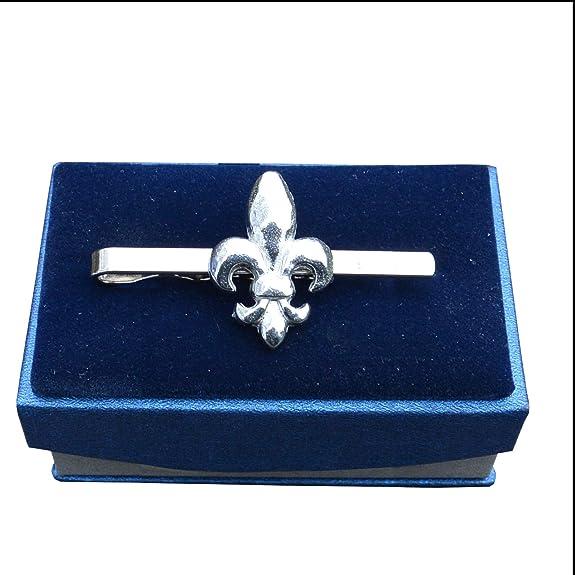 Pinza de corbata flor de lis, hecha a mano en Estaño fino ...