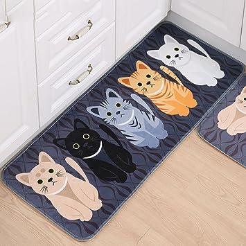 ONEONEY Kicthen Area Carpet Cat Shaped Design Bath Room Rug Non Skid Washable Home Decor