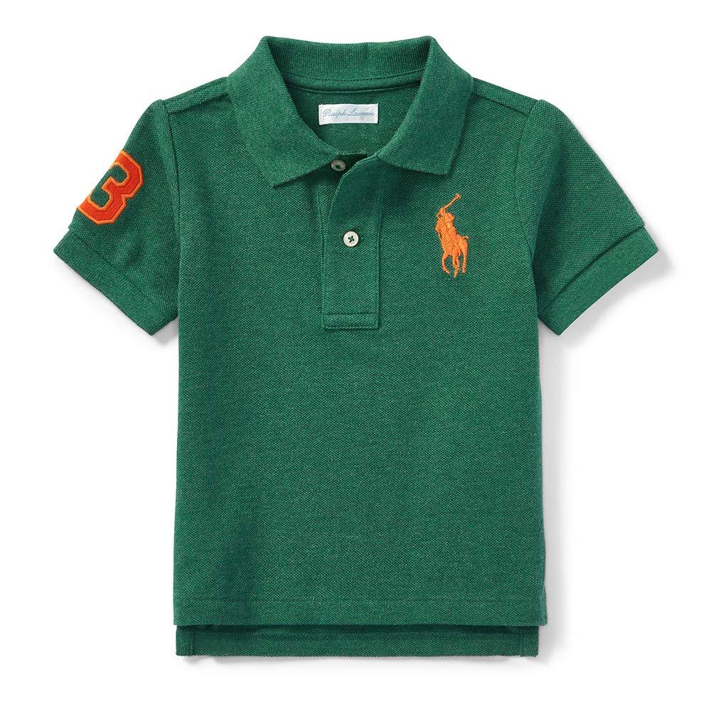 986e1aec Amazon.com: Ralph Lauren Baby Boy Big Pony Cotton Mesh Polo Shirt, Green  Heather: Clothing