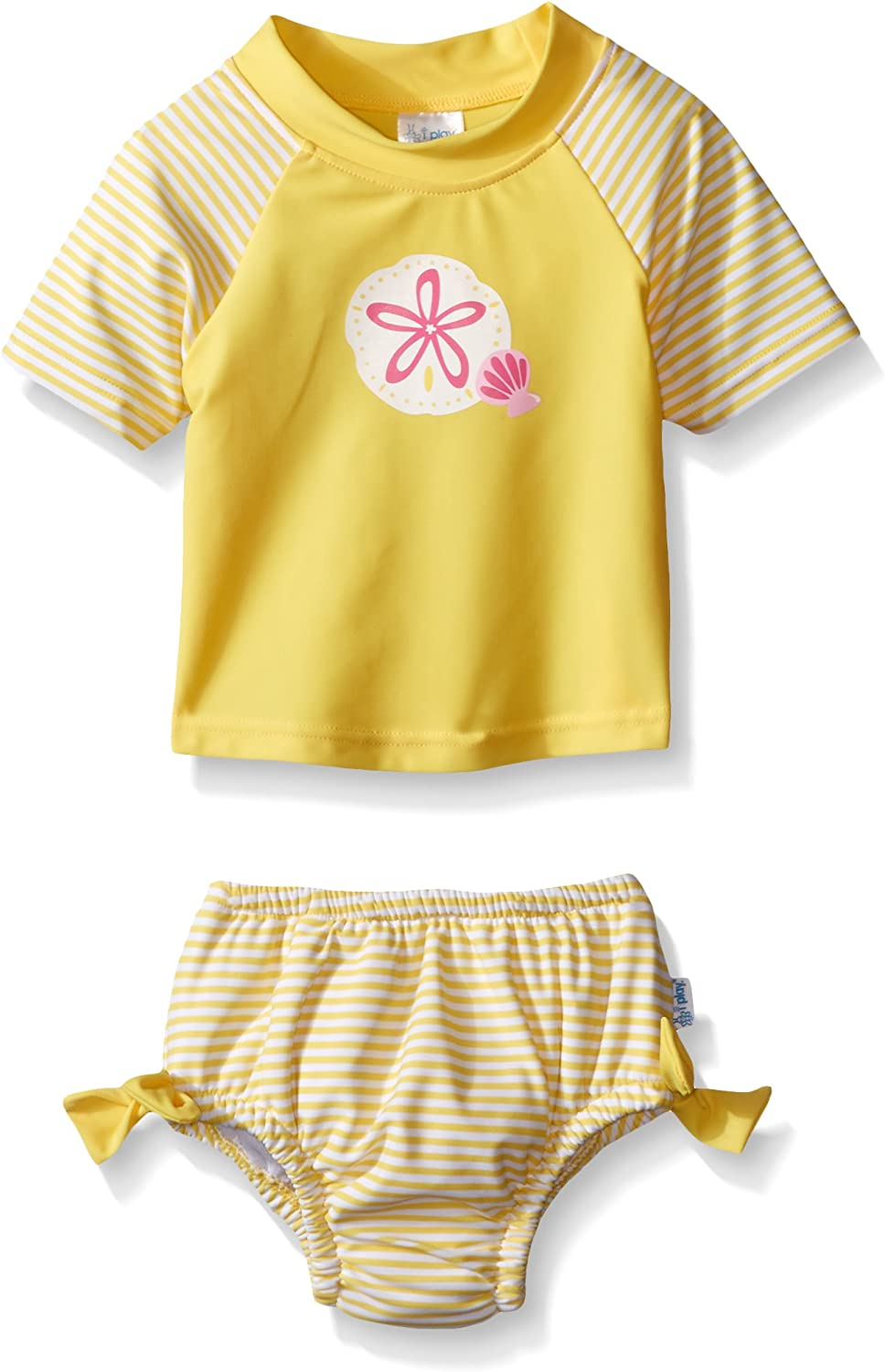 i play by green sprouts Girls Rashguard Set with Built-in Absorbent Swim Diaper