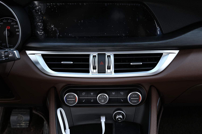 ABS Matt Chrome Center Console AC Outlet Frame Trim Accessories for Alfa Romeo Stelvio 2017 Car-Styling