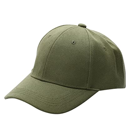 6411feed08f Image Unavailable. Image not available for. Color  Fenta Men Women Plain  Adjustable Golf Baseball Army Cap Blank Plain Solid Sport ...