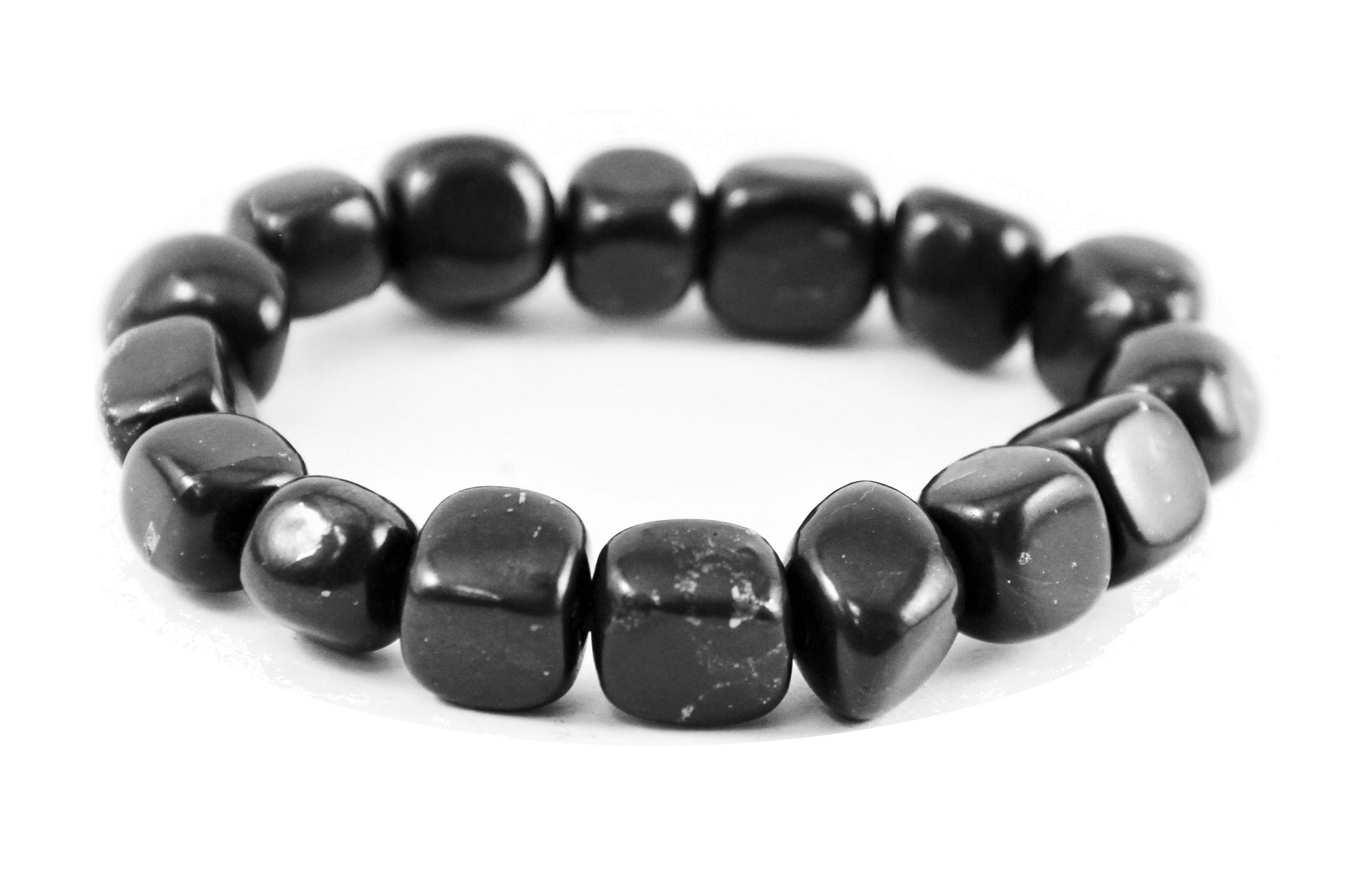 Karelian Heritage Authentic Shungite Crystal Bracelet with Tumbled Beads, Natural Protection Jewelry SB12 by Karelian Heritage