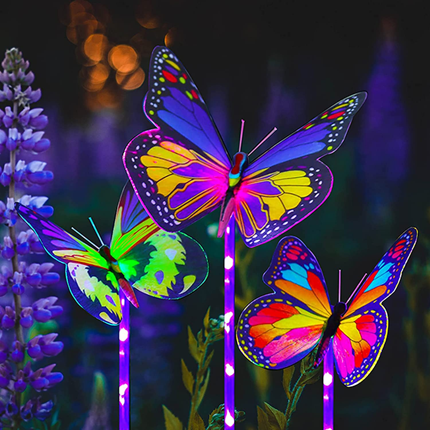 RIZZON Solar Garden Lights Outdoor Decor, 3 Pack Solar Butterfly Stake Lights Multi-Color Changing LED, Waterproof Fiber Optic Butterfly Decorative Lights, for Yard Patio Garden Lawn Decor