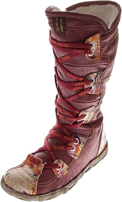 TMA Leder Damen Stiefel 2018 N Schuhe gefüttert Winter Lederstiefel Schwarz Weiß Braun Rot