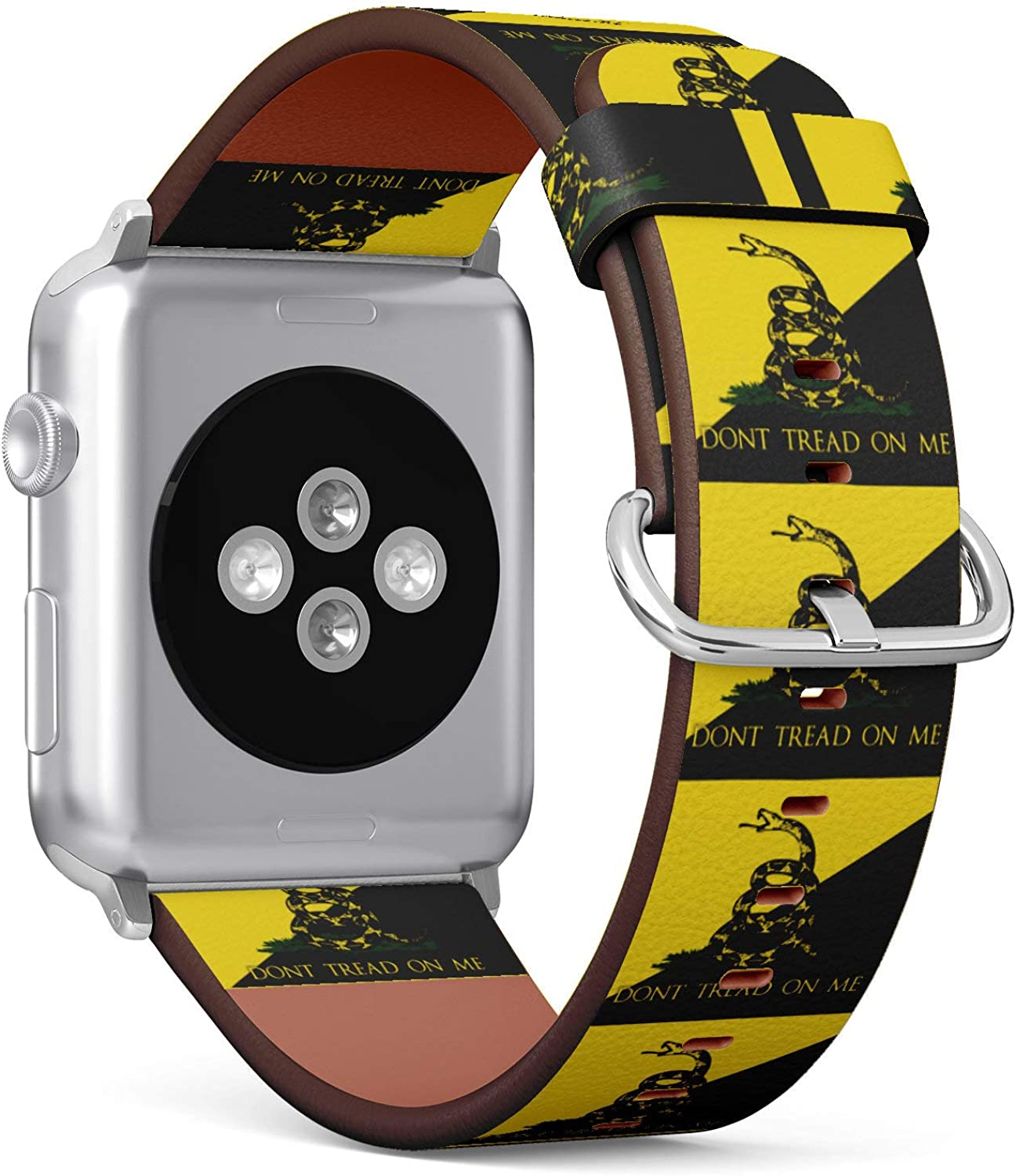 (Don't Tread On Me Flag) Patterned Leather Wristband Strap for Apple Watch Series 4/3/2/1 gen,Replacement for iWatch 38mm / 40mm Bands