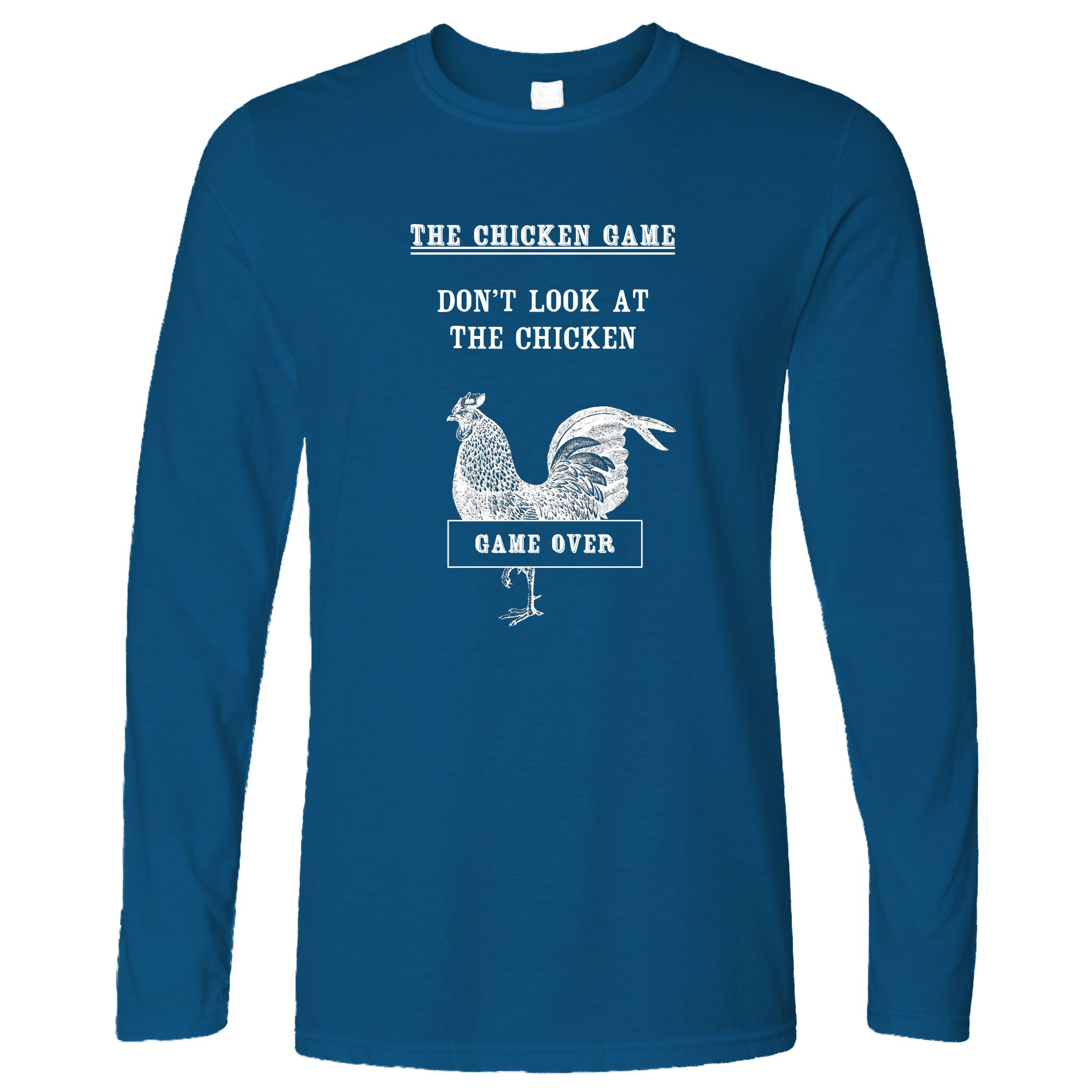 Funny Long Sleeve Don't Look at The Chicken Game Joke Royal Blue XXL