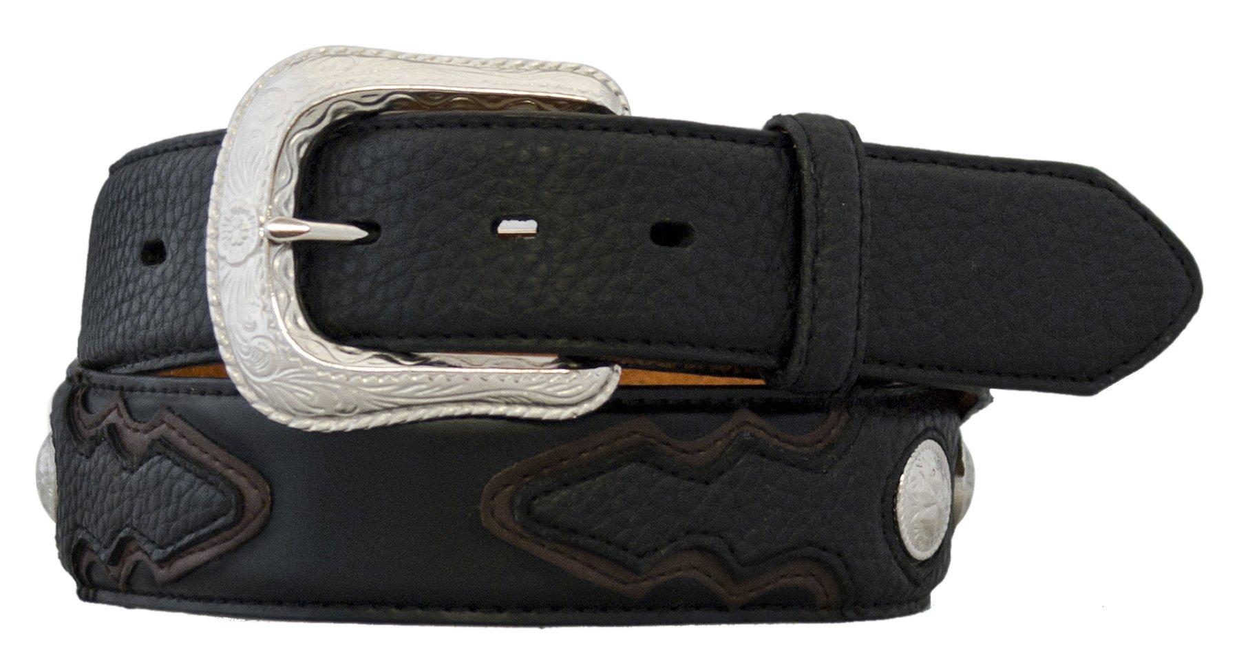 Silver Canyon Men's 1.5'' Leather Shrunken Grain Overlay with Conchos Black/Brown Belt