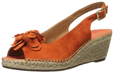 406501cf1cc CLARKS Women s Petrina Bianca Espadrille Wedge Sandal Orange Nubuck 9 ...