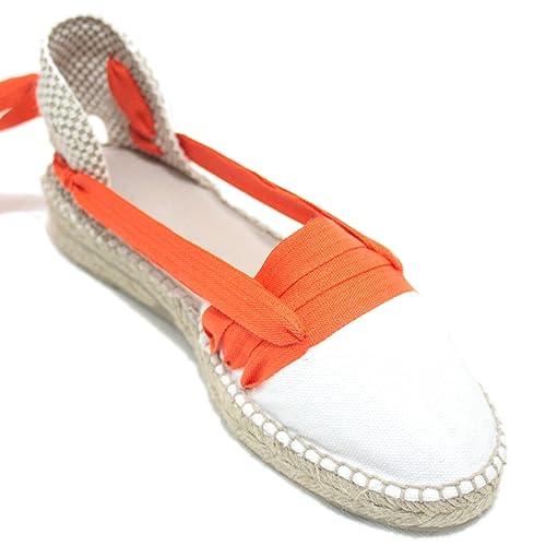 Espardenya.cat Alpargatas Hechas a Mano Tradicionales de Media Cuña Diseño Tres Vetas Color Naranja: Amazon.es: Zapatos y complementos