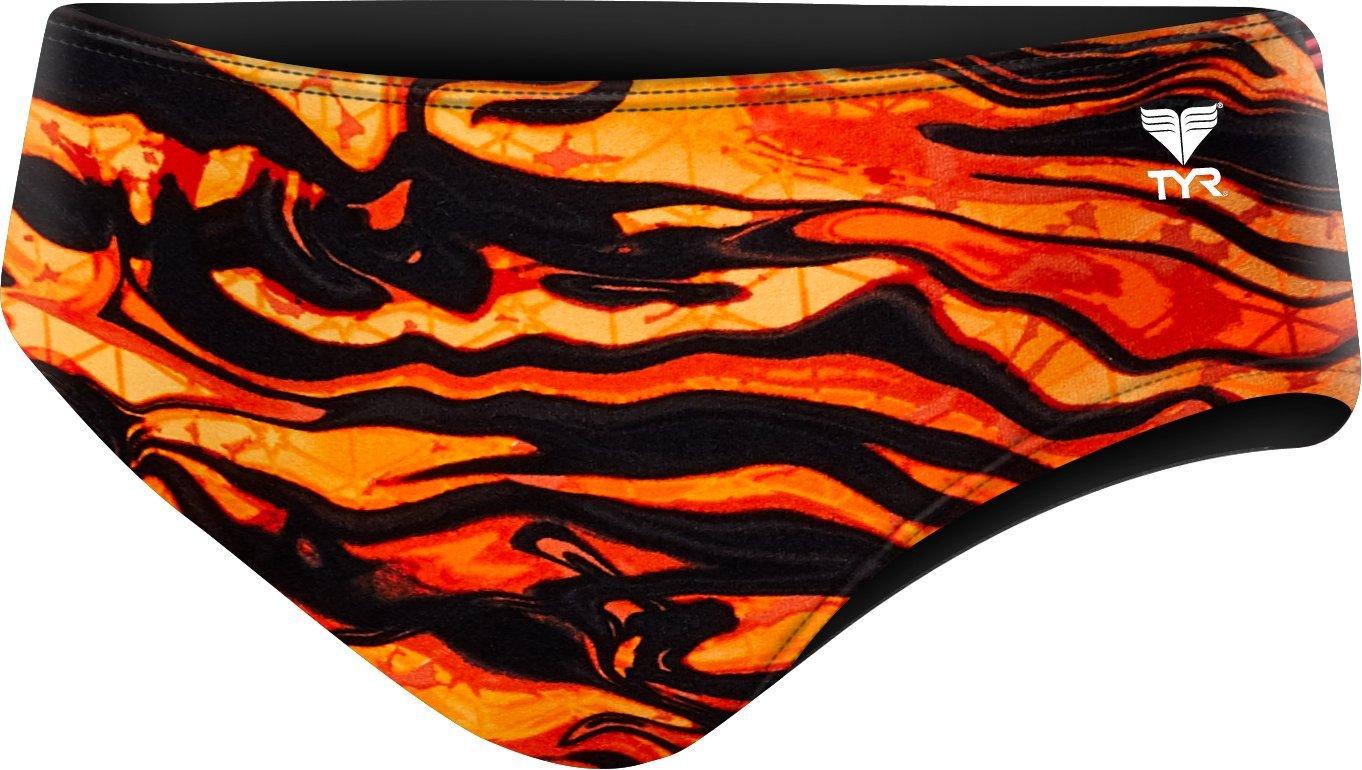 TYR Men's Miramar Racer Swimsuit, Black/Orange, 28 by TYR