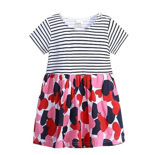 e9be1e3fbc33 Amazon.com  KONFA Teen Toddler Baby Girls Stripes Sundress Dress ...