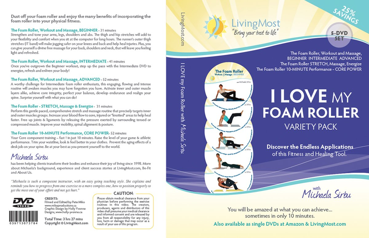 Amazon com: I LOVE my Foam Roller Variety Pack - 5-DVD Set
