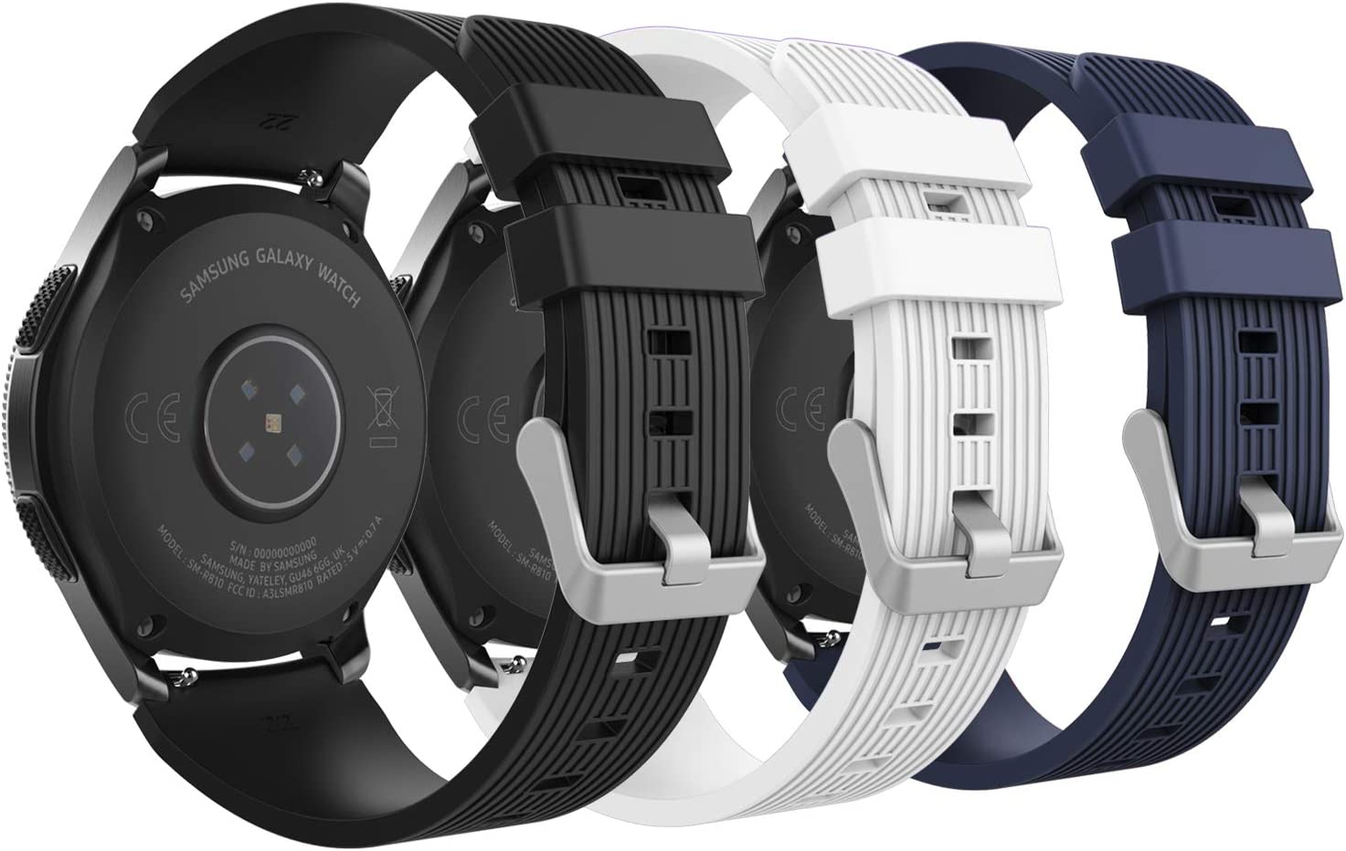 MoKo [3-Pack Band Compatible with Samsung Galaxy Watch 3 45mm/Galaxy Watch 46mm/Gear S3 Classic/Huawei Watch GT 2 Pro/GT 2e 46mm/Ticwatch Pro 3, 22mm Silicone Strap,Black&White&Midnight Blue