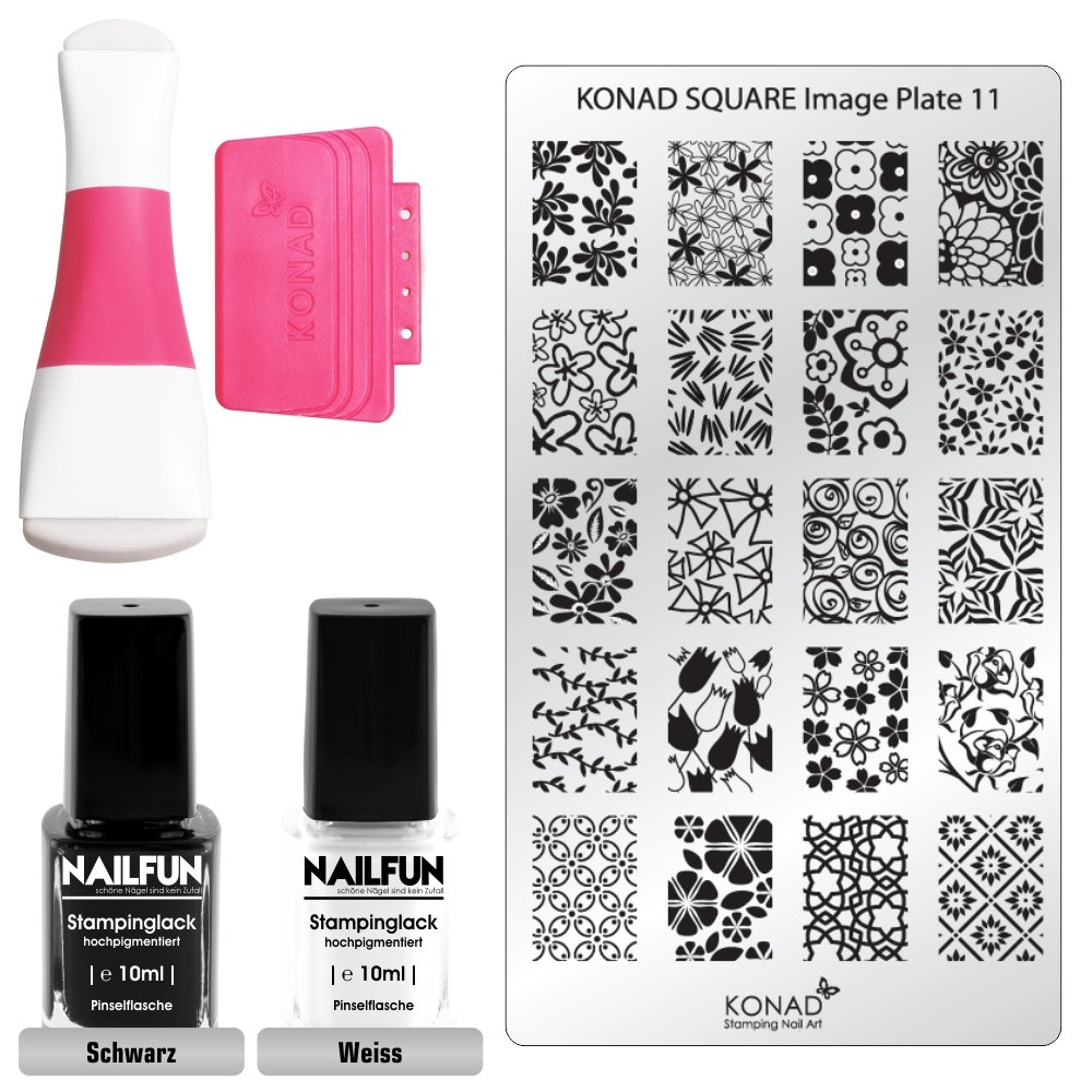 KONAD Stampingset SQUARE 11 mit Double Edge Stamp Set + Stampingschablone Square 11 + NAILFUN Stampinglack weiss 10ml + NAILFUN Stamping-Lack schwarz 10ml product image