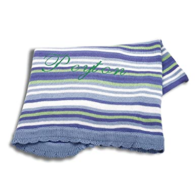 amazon com personalized cotton knit stripe blanket free monogram
