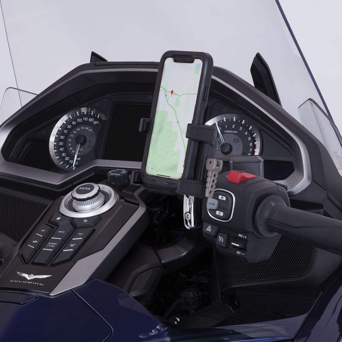 Goldstrike Smartphone Holder with Black Left Side Accessory Mount for Gold Wing