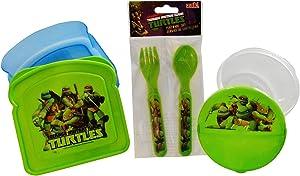 Teenage Mutant Ninja Turtles TMNT Reusable Sandwich Snack Storage Containers with Fork Spoon Flatware Set for Kids