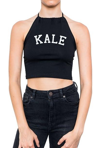 Amazon.com: Kale Halter Crop parte superior Fun Tumblr de la ...