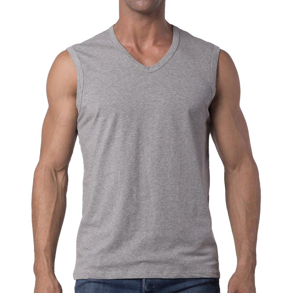 Y2Y2 Men's Big and Tall Sleeveless V-Neck T-Shirt/Gray / 3XL (54''-56'')