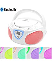 Lauson CP451 - Lettore Portatile CD, USB, Radio AM / FM, MP3, SD-Card, AUX IN, Bianco (Multicolore)