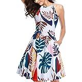 KILIG Women's Halter Neck Floral Summer Dress Casual Sundress with Pockets