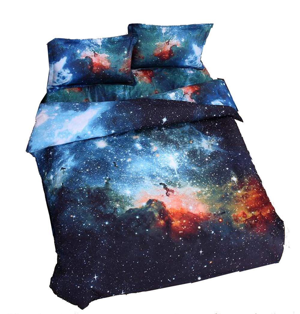 Nattey Star Galaxy Bedding Set Duvet Cover Set Teen Kids Boys Gift (Full, Navy)