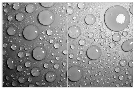 80x52cm Schwarze Schiefertafel Wallario Herdabdeckplatte 2-teilig aus Glas