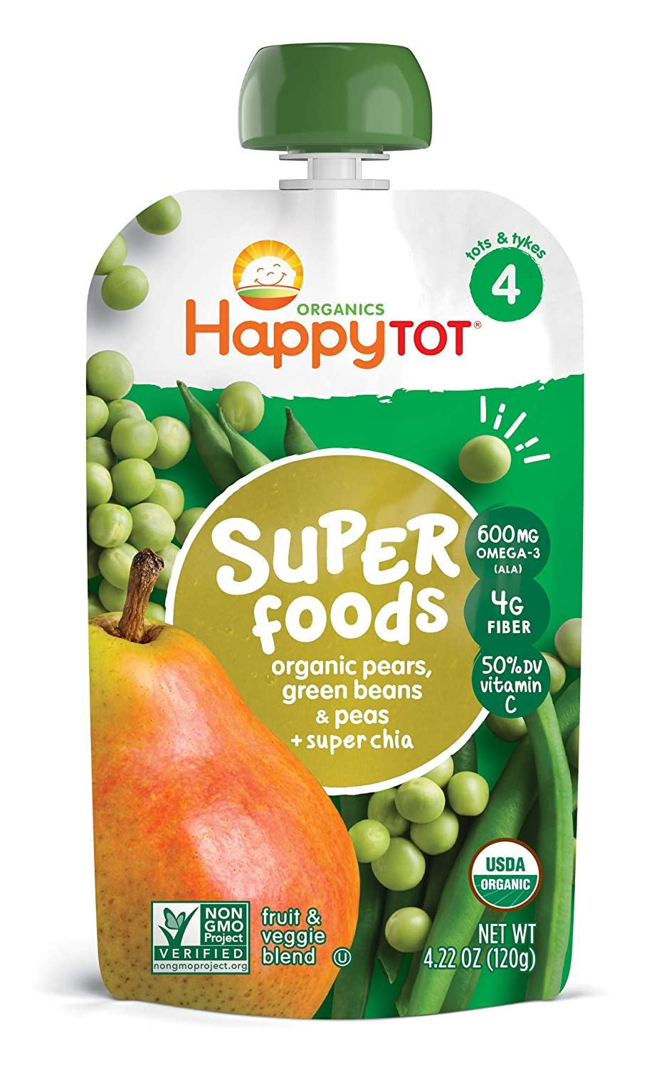 Happy Family Happy Tot Organic Stage 4 Super Foods Pears Peas & Green Beans + Super Chia, 4.22 Ounce (Pack of 4)