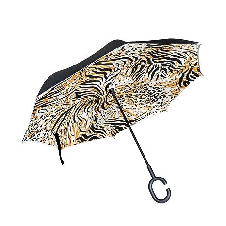 COOSUN Tiger patrón de la piel de la capa doble del paraguas invertido inversa para el